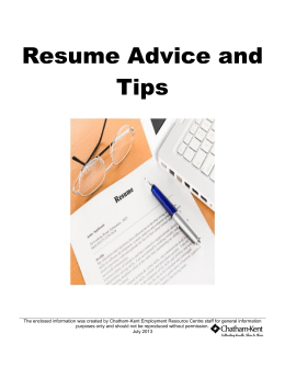 Resume Advice and Tips - Chatham-Kent