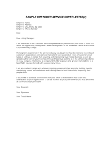sample customer service coverletter