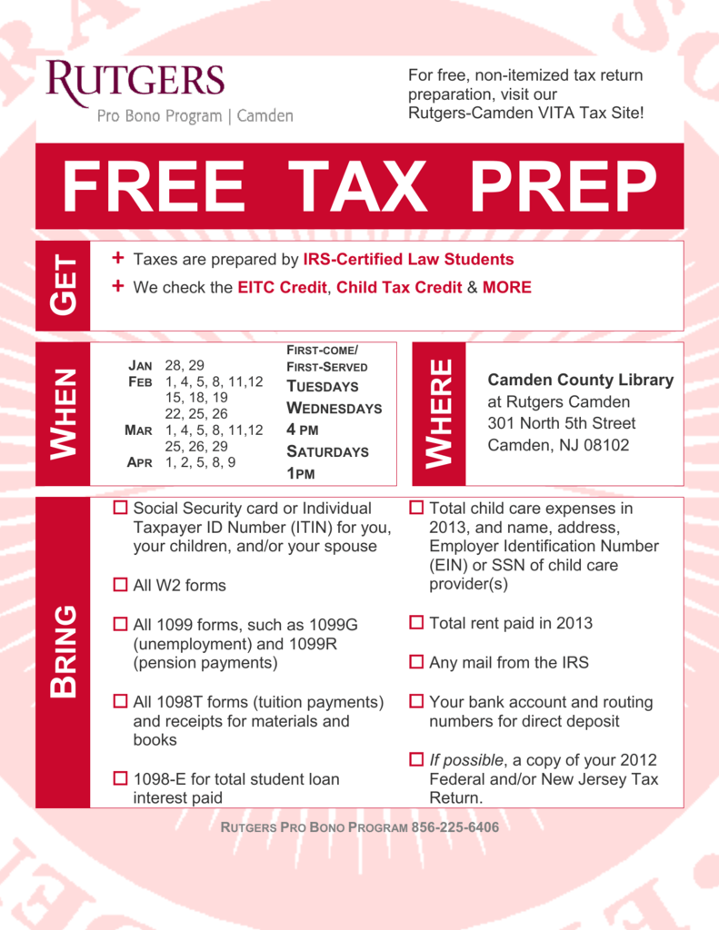 w2 form rutgers  FREE TAX PREP - Camden County Library