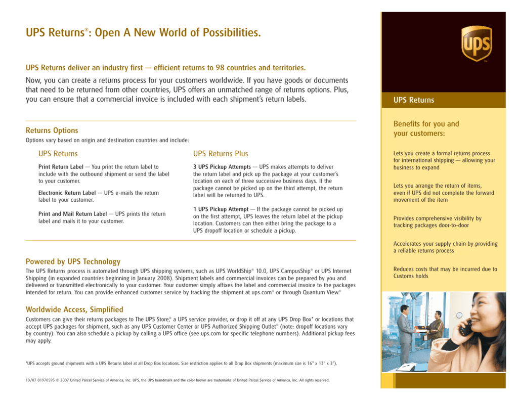 ups returns®: open a new world of possibilities.
