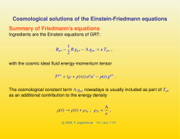 Cosmological solutions of the Einstein