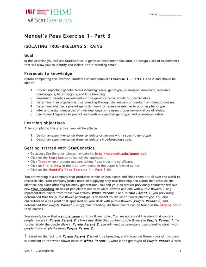 Mendels Peas Exercise 1 Part 3
