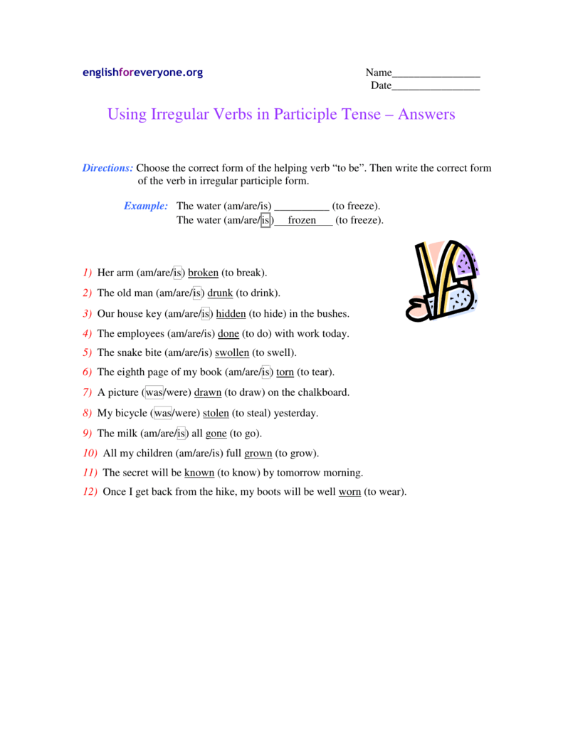 Using Irregular Verbs in Participle Tense – Answers