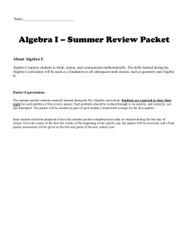 Algebra 1 Basic Skills Summer Review Packet | Find Your World