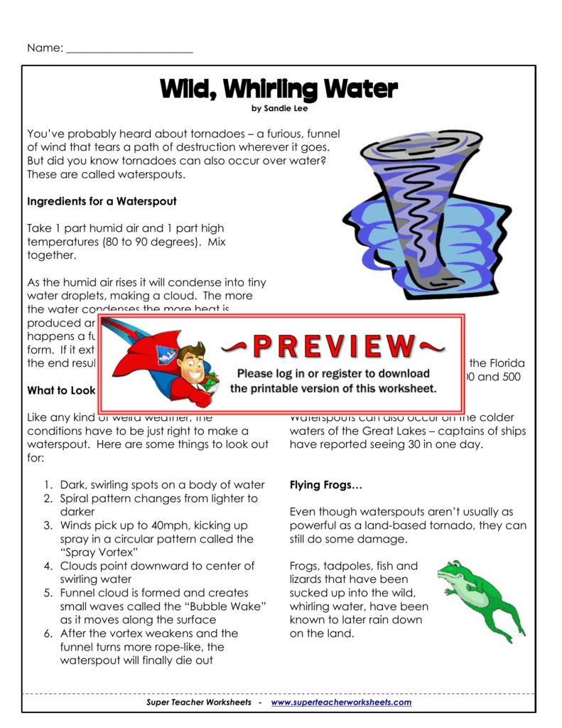 Wild, Whirling Water - Super Teacher Worksheets