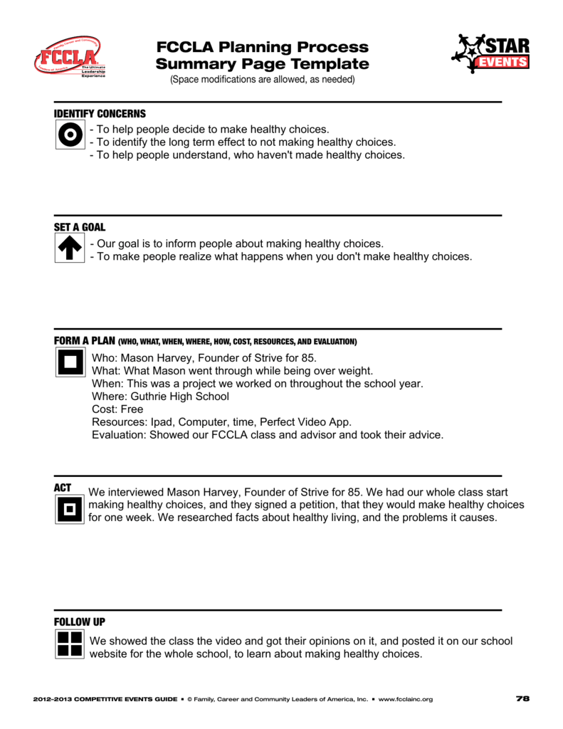 FCCLA planning process summary page template – Fccla Planning Process Worksheet