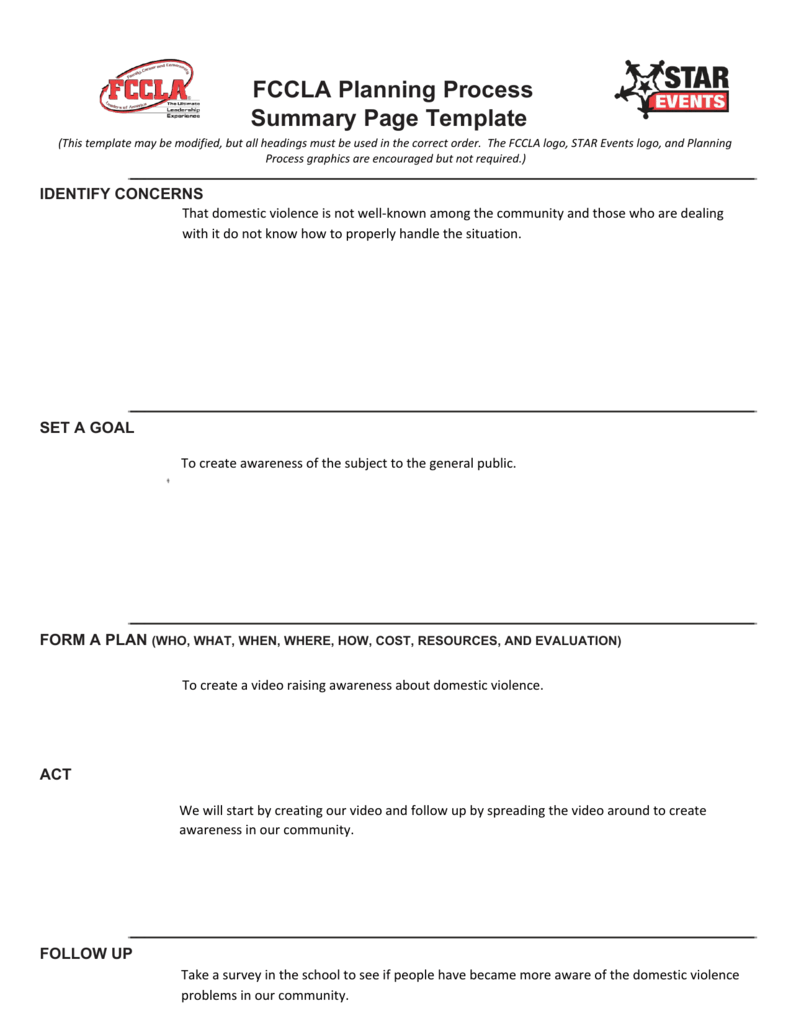 fccla planning process summary page template