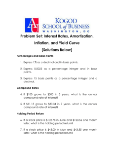 Problem Set: Interest Rates, Amortization, Inflation, and Yield Curve