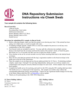 DNA Repository Submission Instructions via Cheek Swab