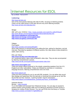 Internet Resources for ESOL