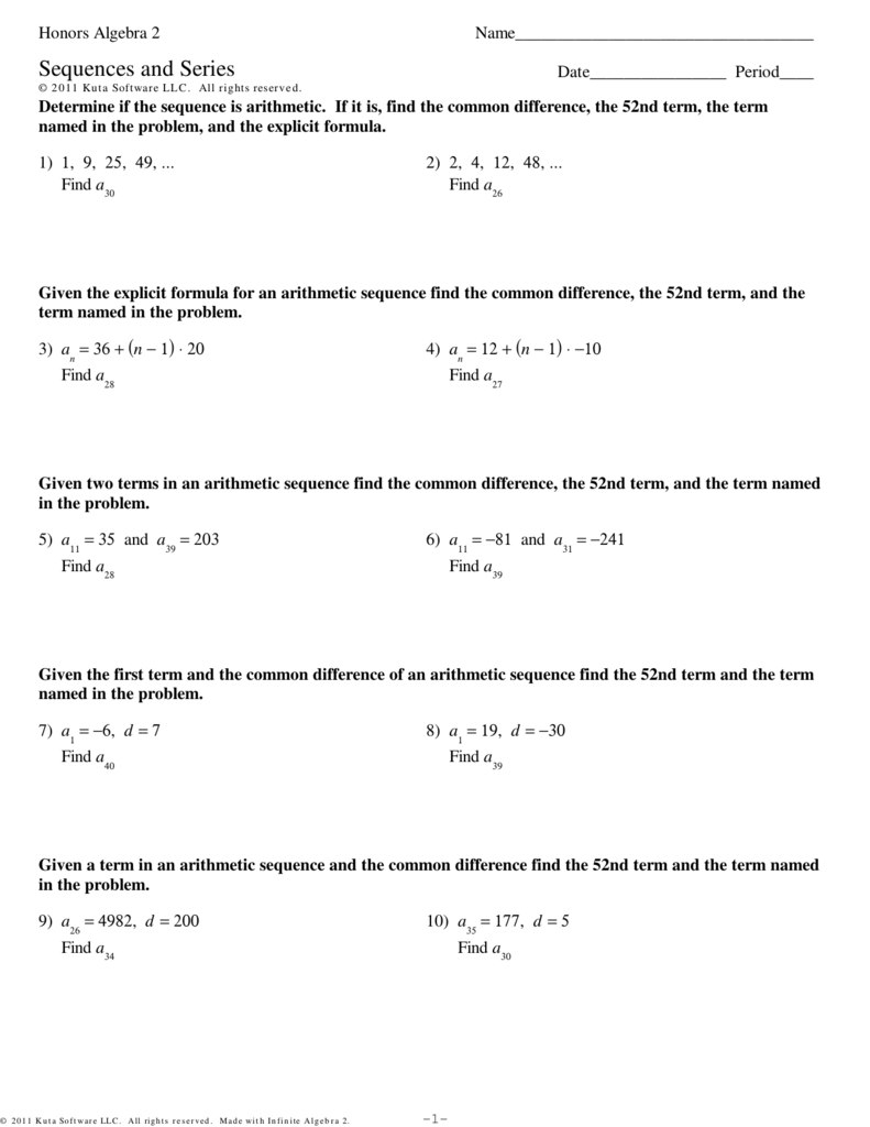 Honors Algebra 2 Sequences And Series Ia2