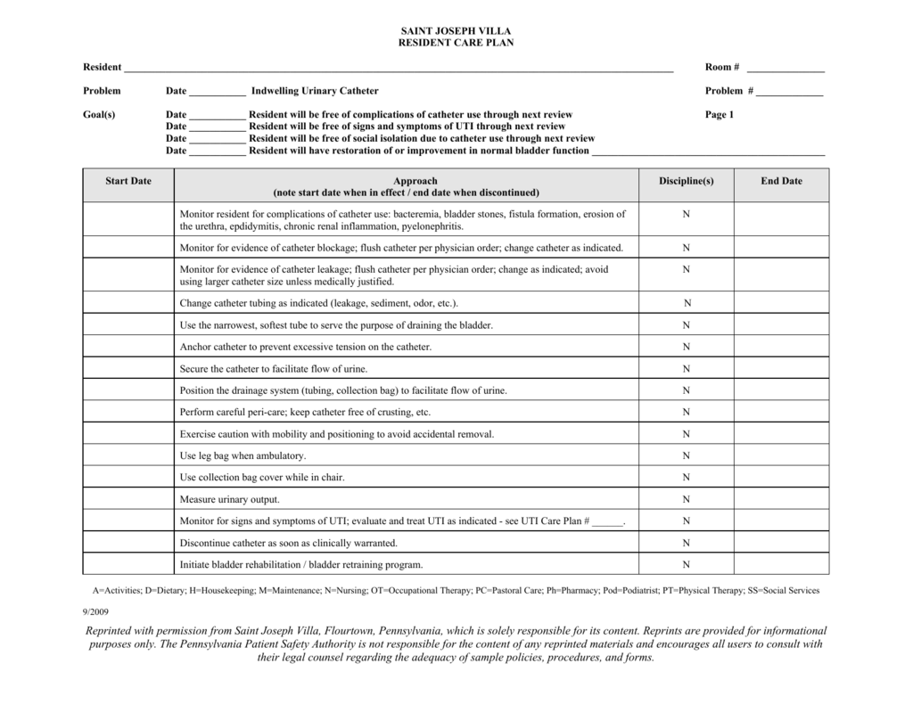 Indwelling Urinary Catheter Resident Care Plan