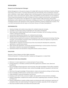 Job description Research and Development Manager