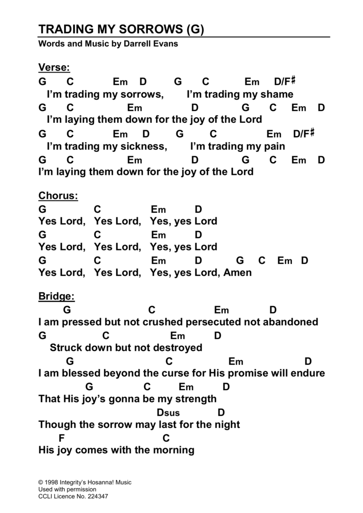 Darrell Evans, Freedom - Trading My Sorrows (Yes Lord) Lyrics
