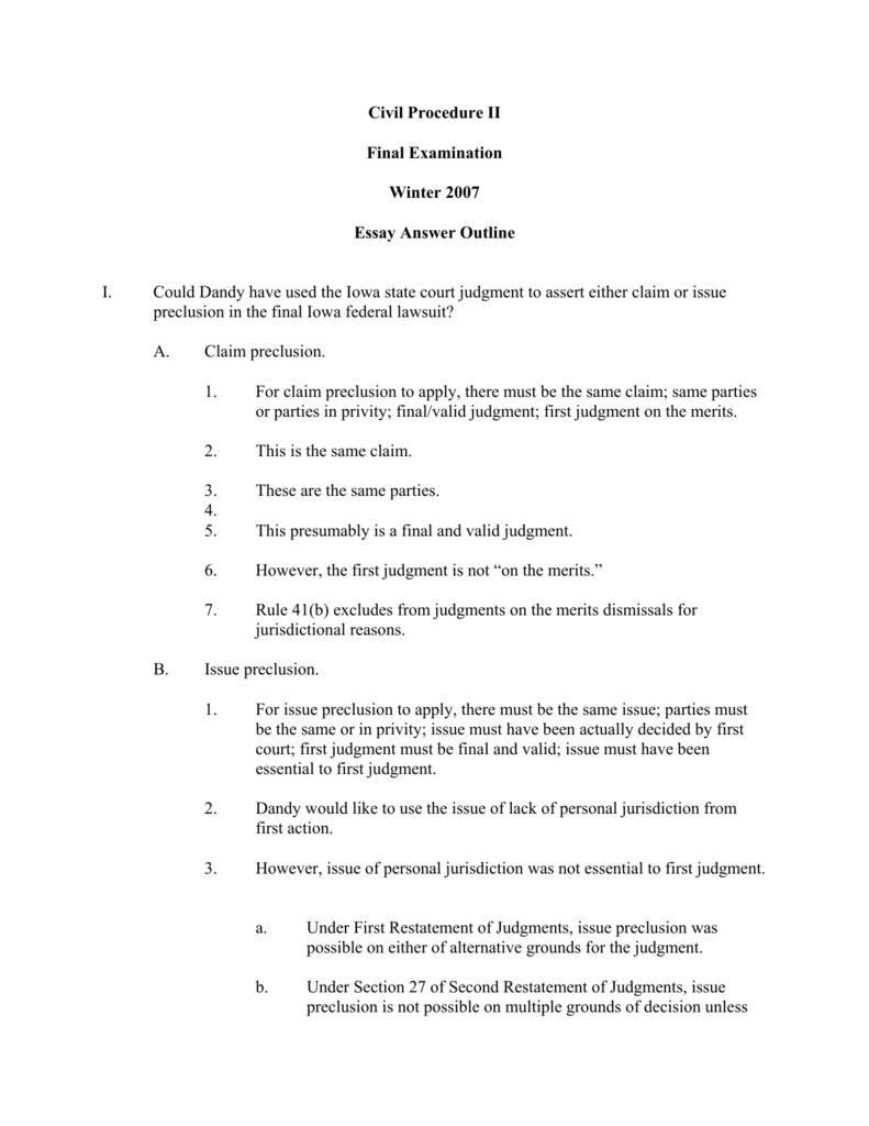 civil procedure outline 2018