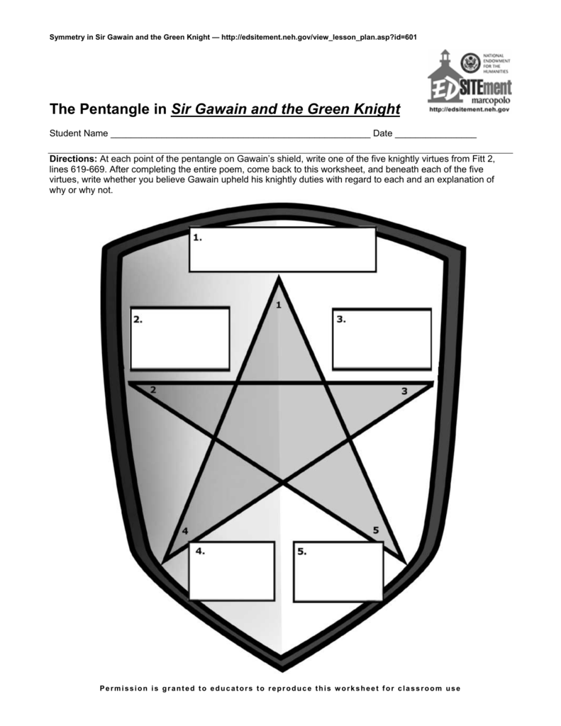The Pentangle In Sir Gawain And The Green Knight