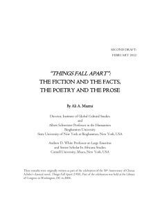 """Things Fall Apart"": The Fiction and The Facts, The Poetry and The"