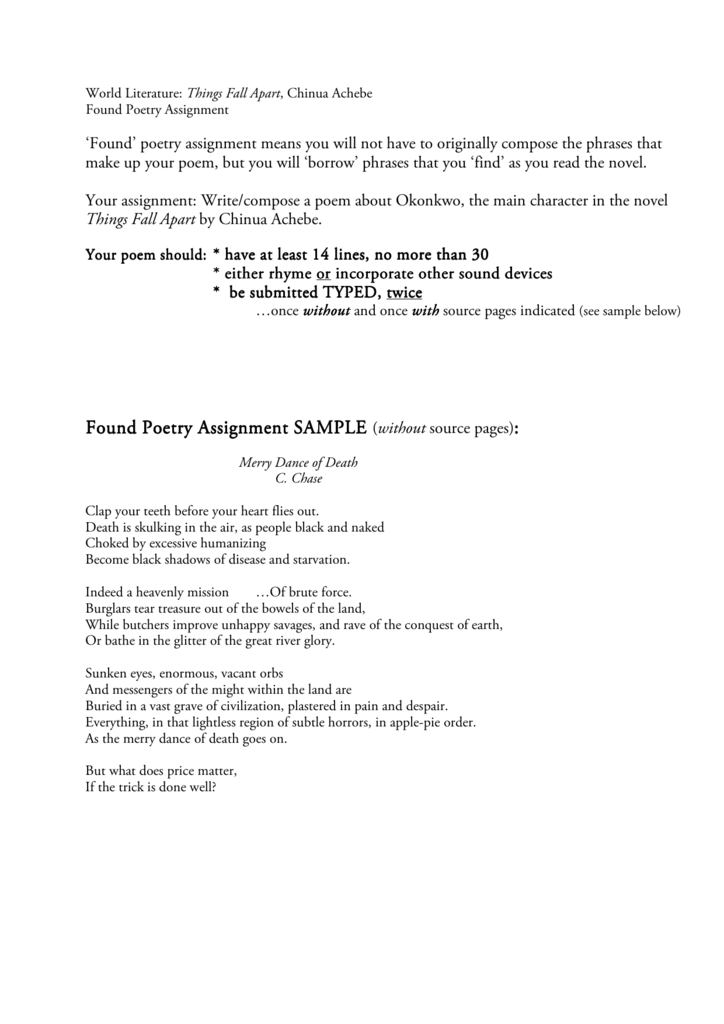 Found Poetry Assignment Poetry Assignment Poetry Assignment