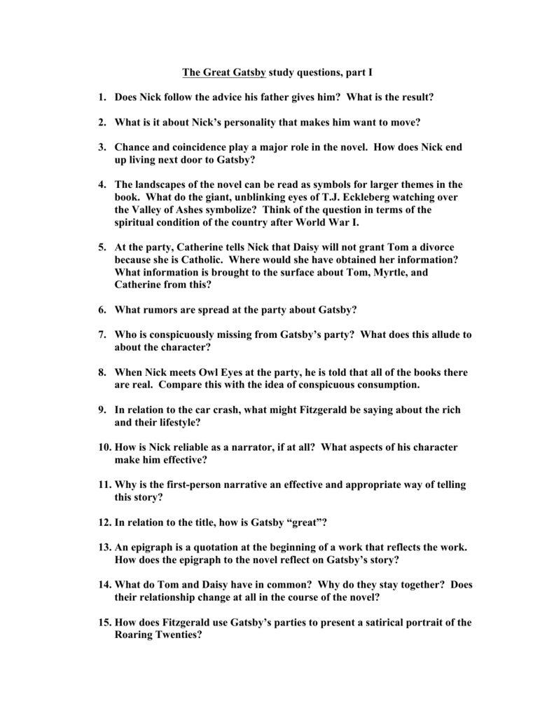 The Great Gatsby Study Questions 2