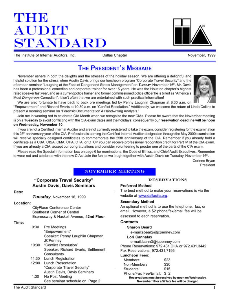 The Audit Standard - Institute of Internal Auditors, Dallas