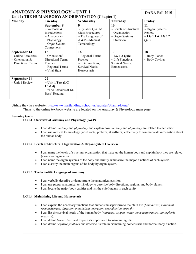 biology – unit 1 plan - Hartland High School