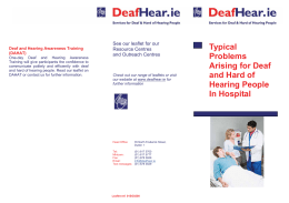 Typical Problems Arising for Deaf and Hard of Hearing