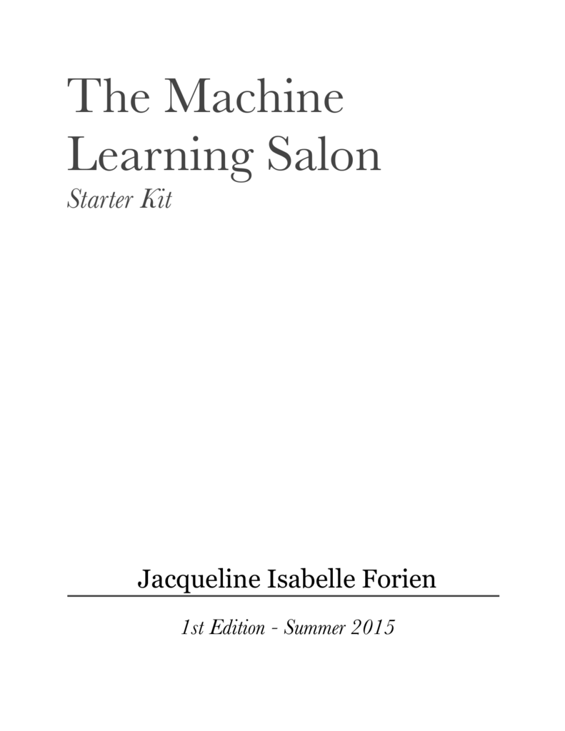Pdf the machine learning salon fandeluxe Images