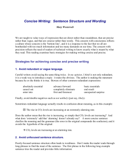 Concise Writing: Sentence Structure and Wording