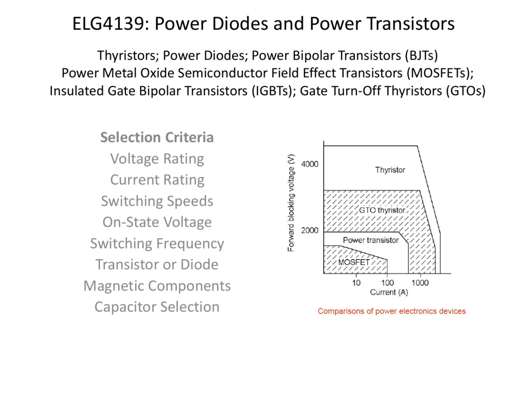 Elg4139 Power Diodes And Power Transistors