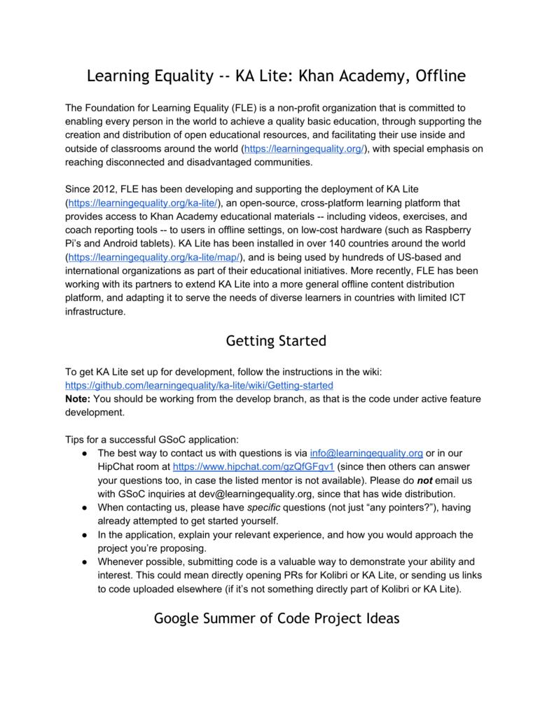 Learning Equality ‐‐ KA Lite: Khan Academy, Offline