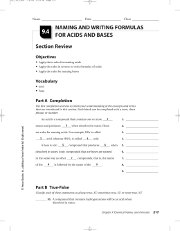 Unit 5 worksheets- Acids and Bases