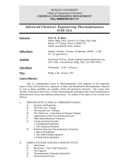 Advanced Chemical Engineering Thermodynamics (ChE 521)