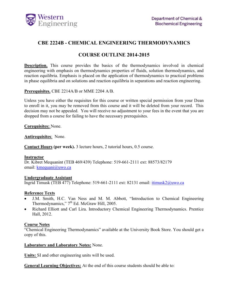 CBE 2224 Chemical Engineering Thermodynamics