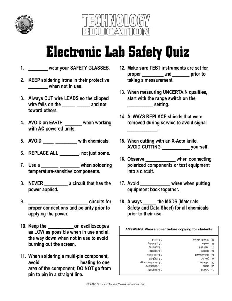 Electronic Lab Safety Quiz