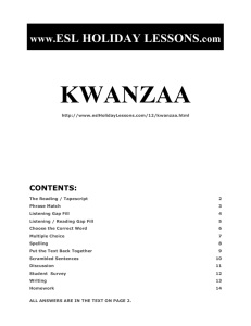 kwanzaa - ESL Holiday Lessons