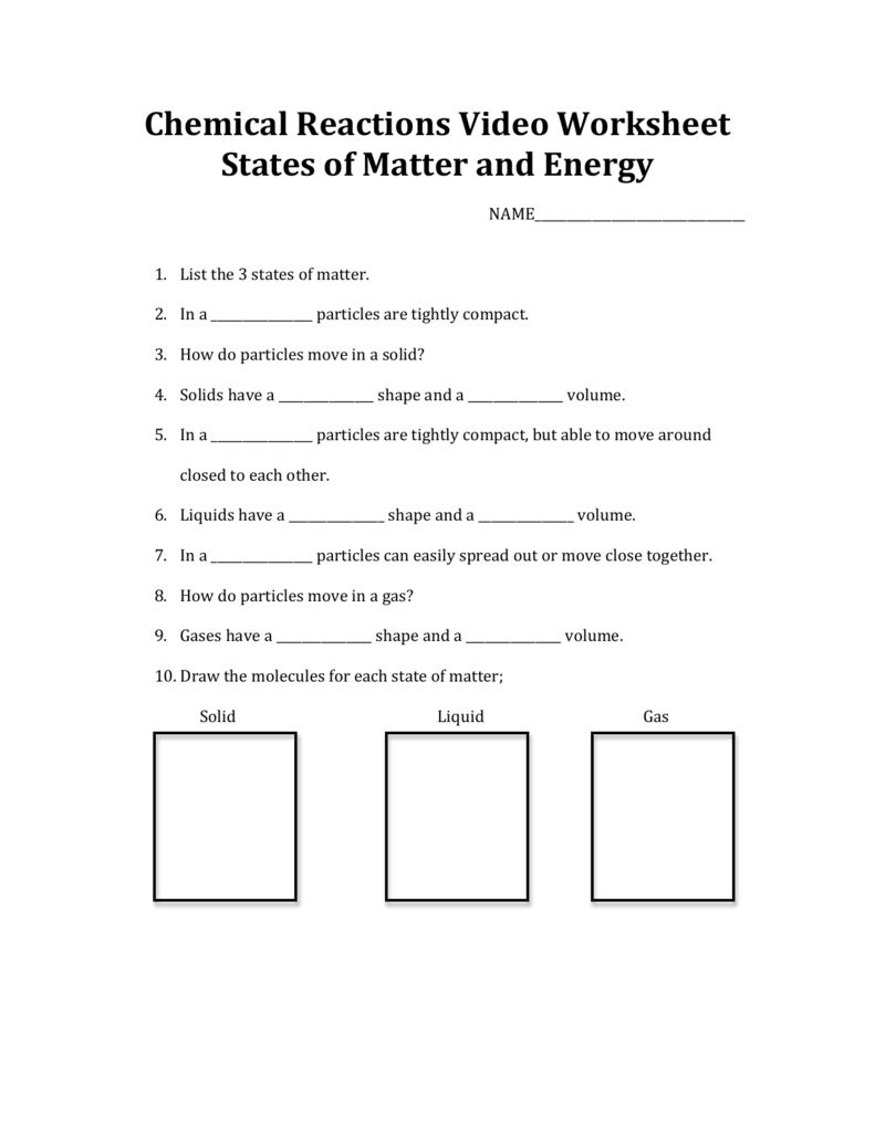 Chemical Reactions Video Worksheet States of Matter and ...