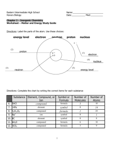 Worksheet - Matter & Energy ANSWER KEY