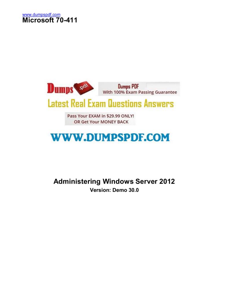 Microsoft Exam 70-411 Pdf
