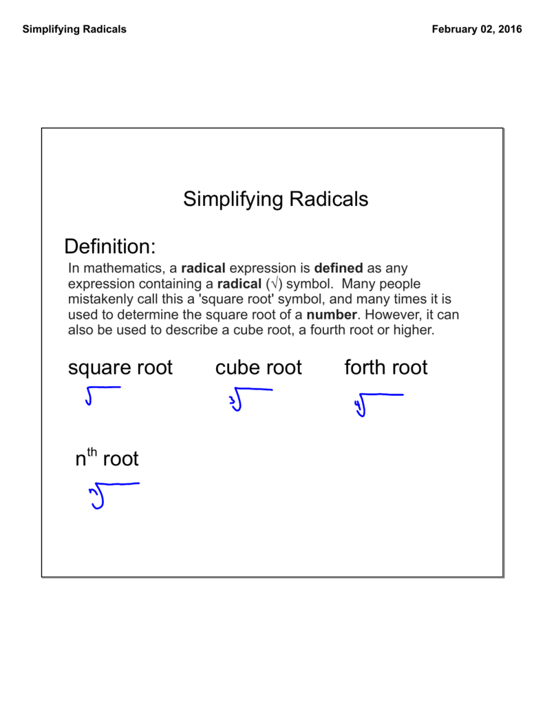 Simplifying Radicals Definition Square Root Cube Root Forth Root