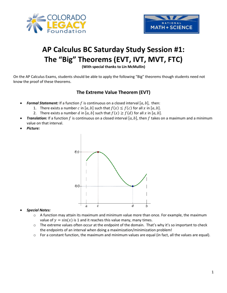 Ap Calculus Bc Saturday Study Session 1 The Big Theorems