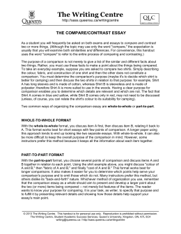 Compare & Contrast Essays - Student Academic Success Services