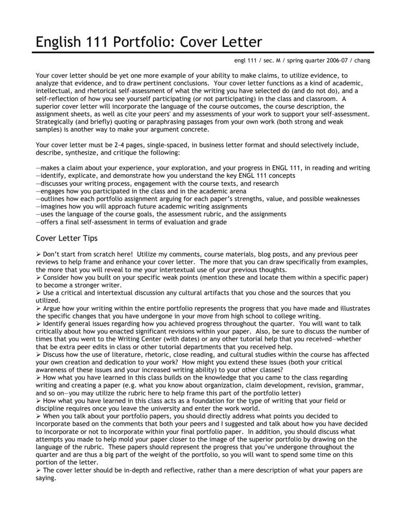 English 111 Portfolio Cover Letter