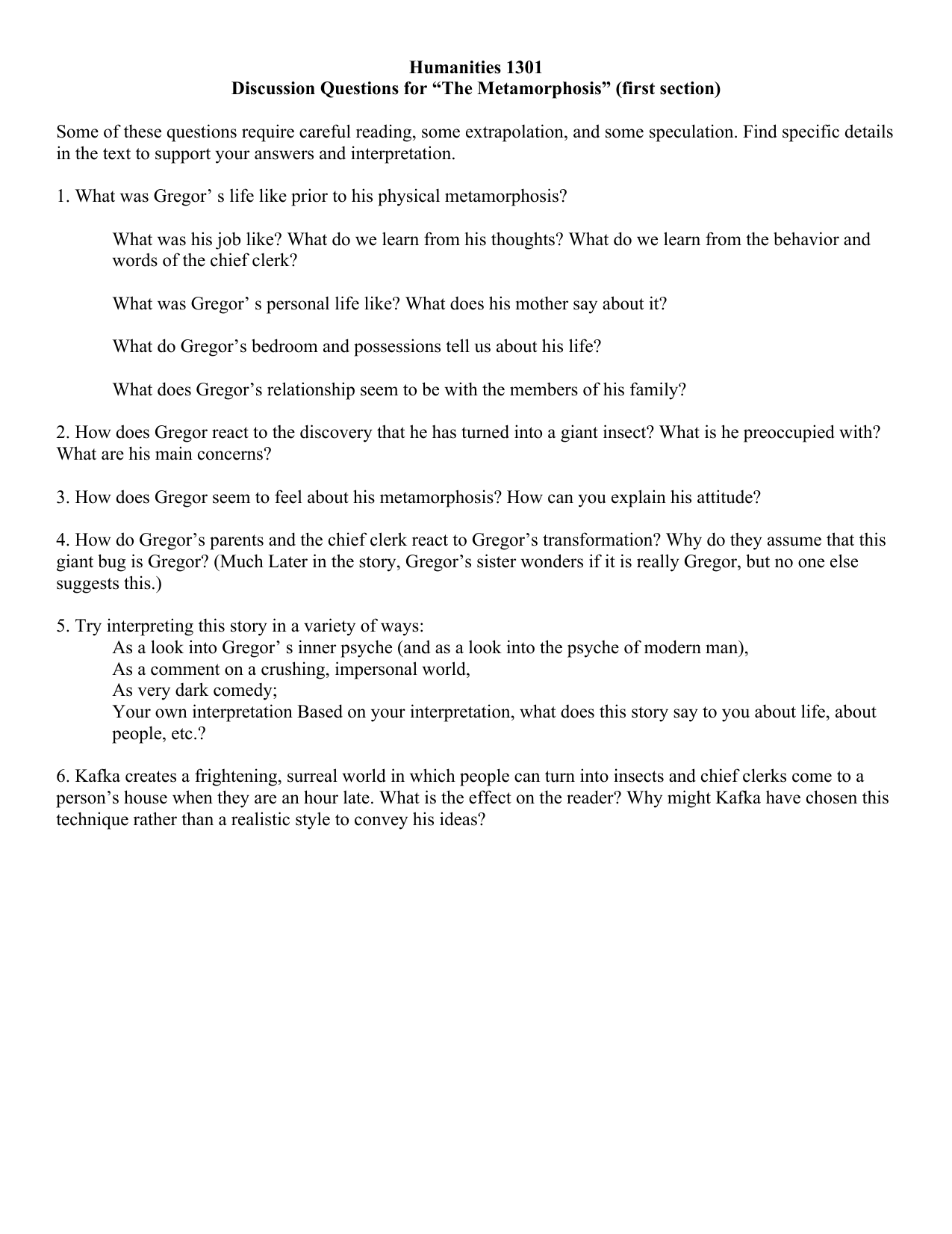 study questions the metamorphosis rh studylib net Great Expectations Study Guide Questions Anthem Study Guide Questions