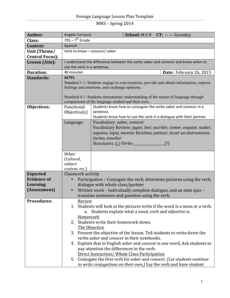 Foreign Language Lesson Plan Template MMS Spring - Language lesson plan template
