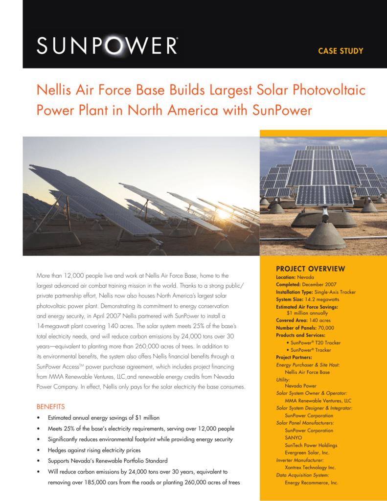 Nellis Air Force Base Builds Largest Solar Power Plant