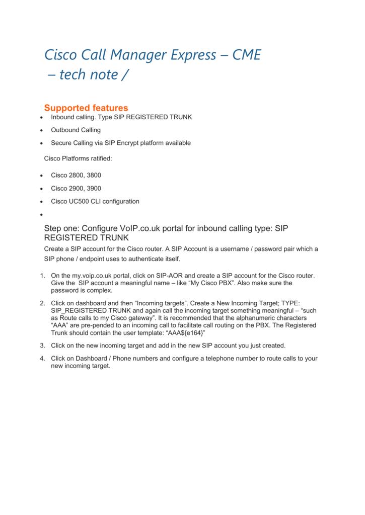 Cisco Call Manager Express – CME – tech note /