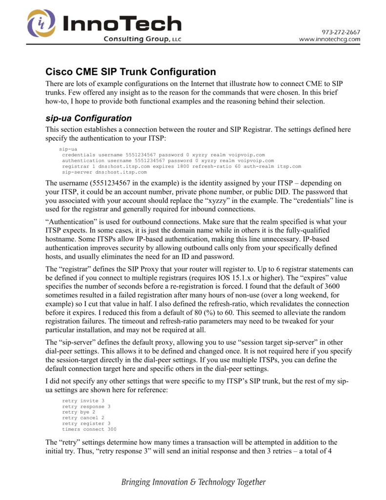 Cisco CME SIP Trunk Configuration