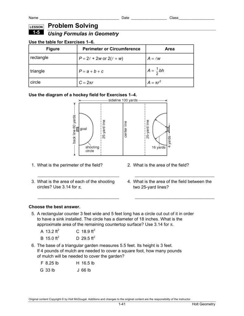 lesson 8-2 problem solving perimeter and area of triangles and trapezoids