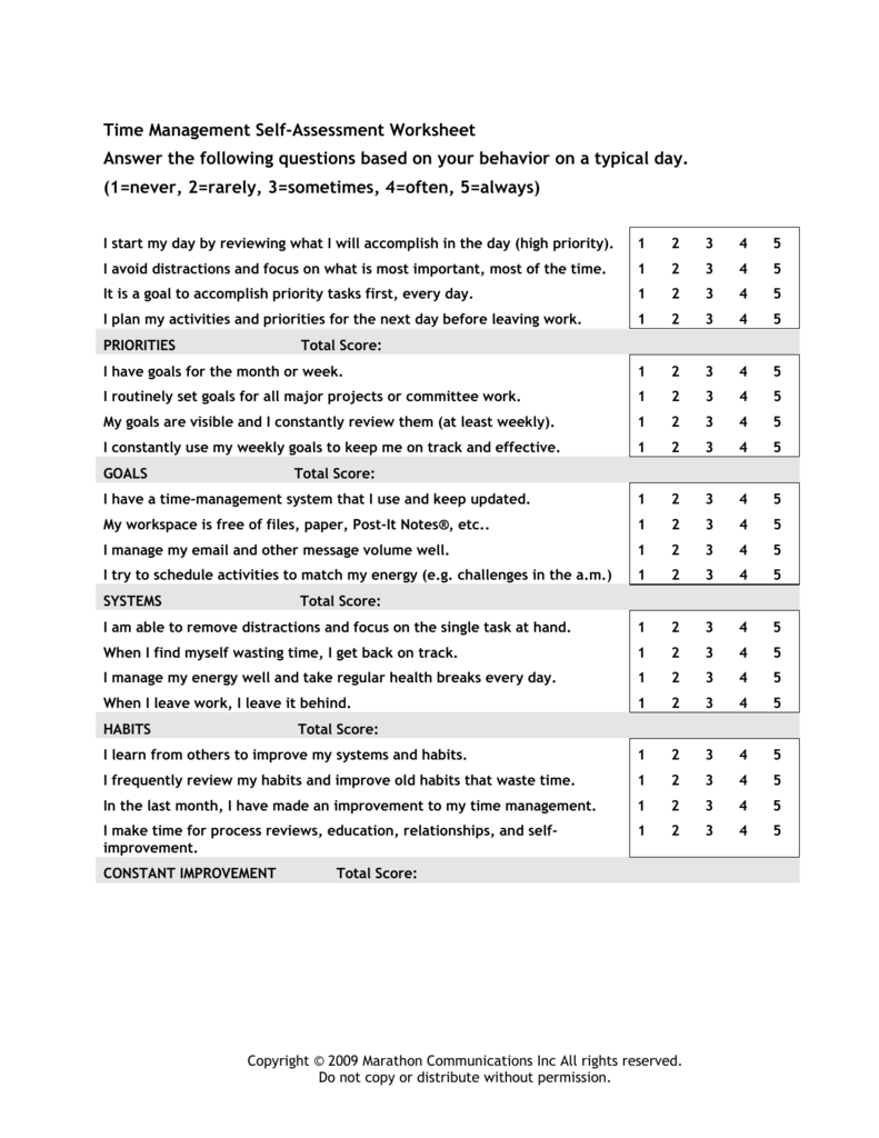 Time Management Self-Assessment Worksheet Answer the