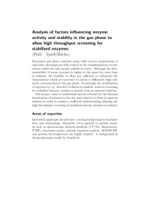 Analysis of factors influencing enzyme activity and stability in the gas